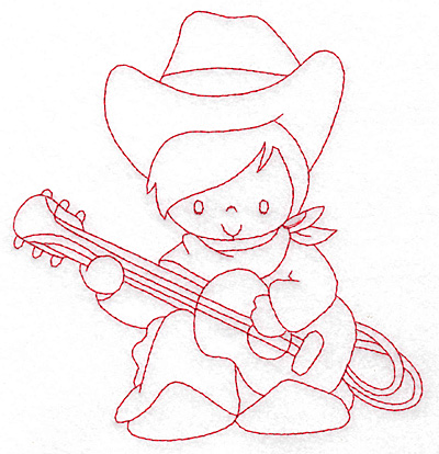Embroidery Design: Cowboy playing guitar large 5.40w X 5.78h