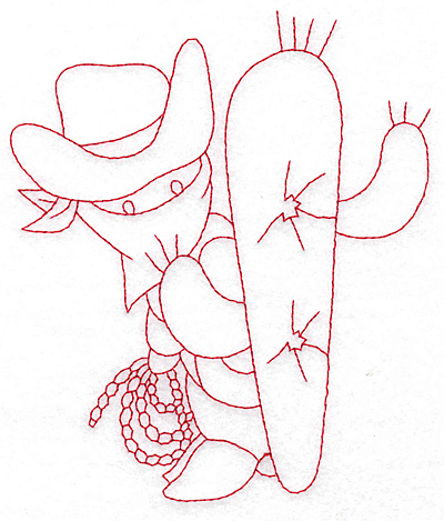 Embroidery Design: Cowboy bandit and cactus large 4.94w X 5.80h