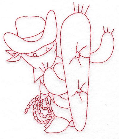 Embroidery Design: Cowboy bandit and cactus medium 4.12w X 4.83h