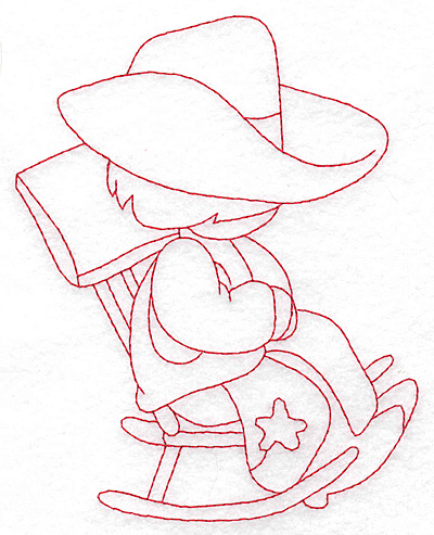 Embroidery Design: Cowboy in rocking chair large 4.65w X 5.71h