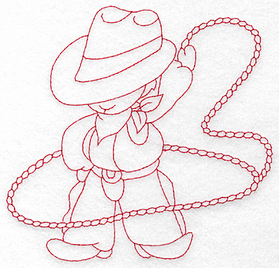 Embroidery Design: Cowboy with lasso large 5.77w X 5.48h