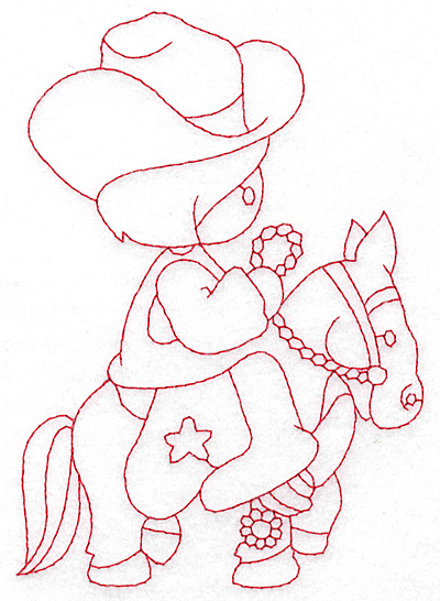 Embroidery Design: Cowboy on horse large 4.13w X 5.78h