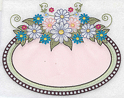 Embroidery Design: Oval pink applique with daisies 6.30w X 4.98h