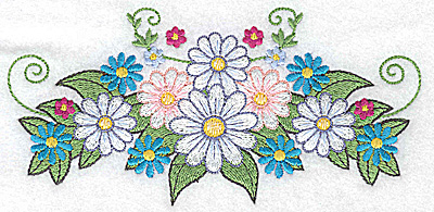 Embroidery Design: Daisy bouquet 6.21w X 3.01h