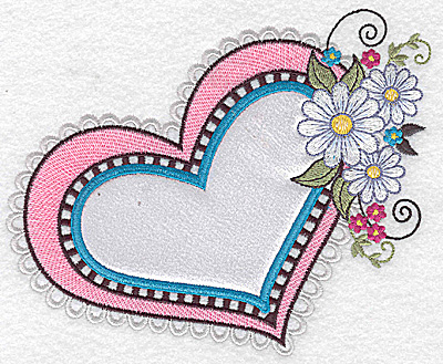 Embroidery Design: Heart white satin applique with daisies small 6.03w X 4.95h