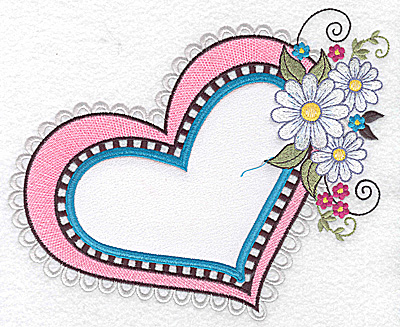 Embroidery Design: Heart white satin applique with daisies large  7.84w X 6.44h