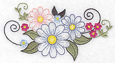 Embroidery Design: Daisy trio large 4.81w X 2.58h
