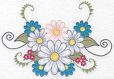 Embroidery Design: Daisies with vines 6.91w X 4.78h