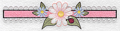 Embroidery Design: Daisy with ladybug on border large 6.77w X 1.68h