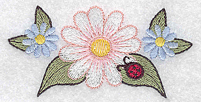Embroidery Design: Daisy with ladybug 3.39w X 1.68h