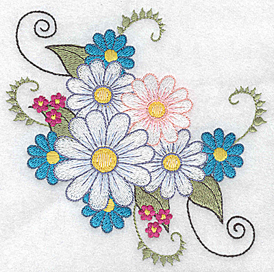 Embroidery Design: Bunch of daisies 4.94w X 4.97h