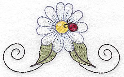 Embroidery Design: Single daisy with ladybug large 4.94w X 3.01h