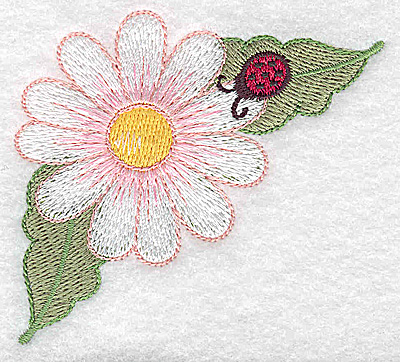 Embroidery Design: Daisy and ladybug small 3.02w X 2.77h