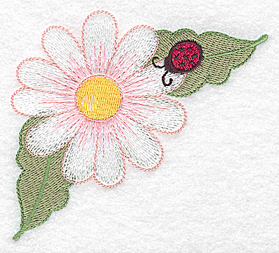 Embroidery Design: Daisy and ladybug large 3.87w X 3.54h