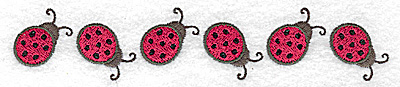 Embroidery Design: Row of ladybugs 5.86w X 1.14h