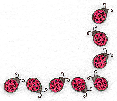 Embroidery Design: Ladybug corner 4.82w X 4.14h