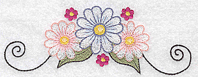Embroidery Design: Daisies with swirls large 4.97w X 1.80h