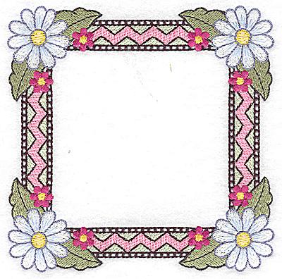 Embroidery Design: Daisy frame 4.95w X 3.96h