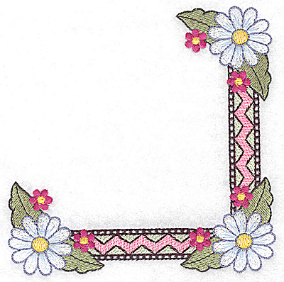 Embroidery Design: Daisy corner with patterned design 4.95w X 4.96h