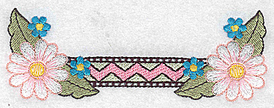 Embroidery Design: Daisies with patterned border 4.95w X 1.78h