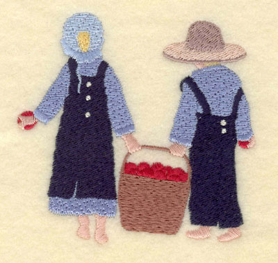Embroidery Design: Girl and Boy with Apple Basket Small3.49w X 3.41h