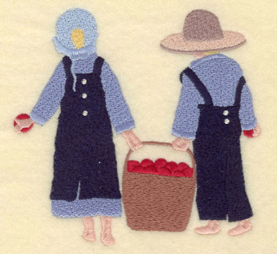 Embroidery Design: Girl and Boy with Apple Basket Large5.23w X 5.11h