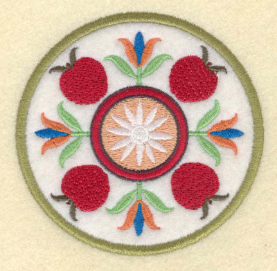 Embroidery Design: Apple Floral Motif Small Single Applique3.84w X 3.76h