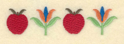 Embroidery Design: Apples with Flowers Small4.72w X 1.19h