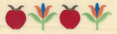 Embroidery Design: Apples with Flowers Large7.00w X 1.76h