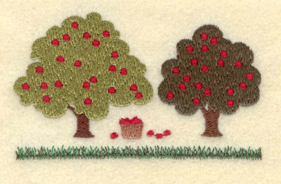 Embroidery Design: Apple Trees with Basket Small3.75w X 2.30h