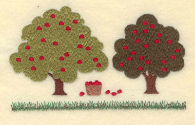 Embroidery Design: Apple Trees with Basket Large5.63w X 3.46h