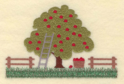 Embroidery Design: Apple Tree with Fences Large5.63w X 3.76h