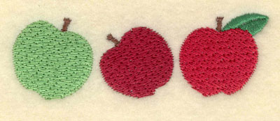 Embroidery Design: Three Apples Small3.51w X 1.19h