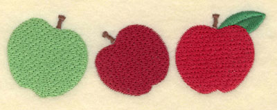 Embroidery Design: Three Apples Large5.26w X 1.78h