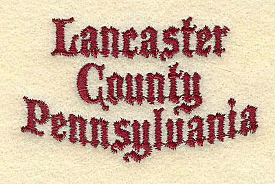 Embroidery Design: Lancaster County Pennsylvania2.97w X 1.82h