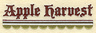 Embroidery Design: Apple Harvest with Scallop Border4.86w X 1.44h