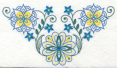 Embroidery Design: Floral design A large 6.93w X 3.88h