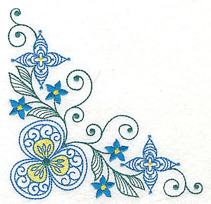 Embroidery Design: Floral corner design B large 4.98w X 4.96h