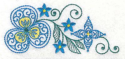 Embroidery Design: Floral design B 3.86w X 1.68h