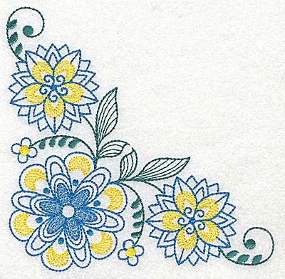Embroidery Design: Floral corner design C large 4.97w X 4.98h