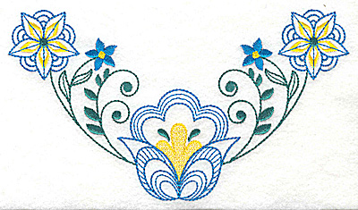Embroidery Design: Floral design D large 6.95w X 3.88h