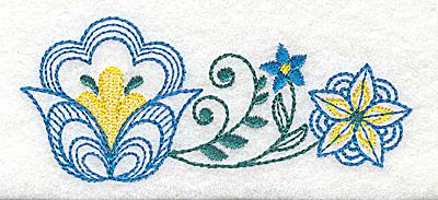 Embroidery Design: Floral design D 3.88w X 1.63h