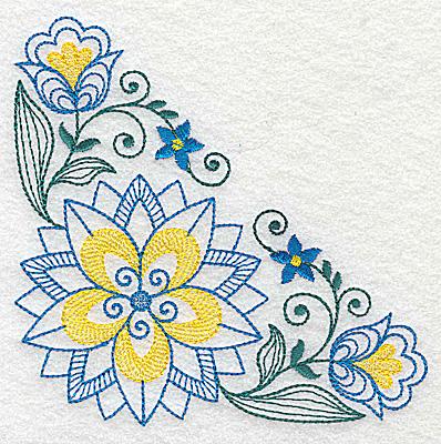 Embroidery Design: Floral corner design E large 4.96w X 4.96h