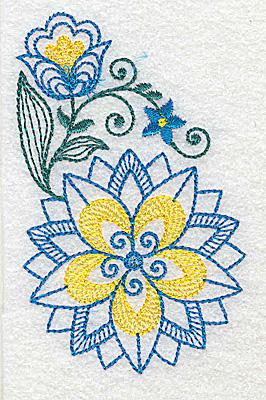 Embroidery Design: Floral design E 2.36w X 3.83h