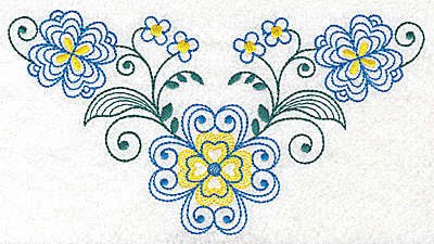 Embroidery Design: Floral design F large 6.96w X 3.75h