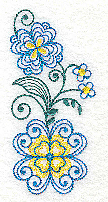 Embroidery Design: Floral design F 1.72w X 3.72h