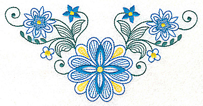 Embroidery Design: Floral design G large  6.98w X 3.60h