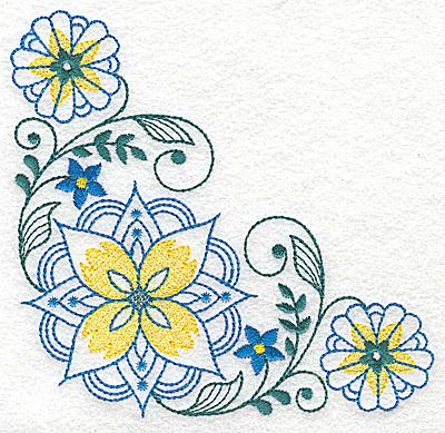Embroidery Design: Floral corner design H large 4.95w X 4.95h