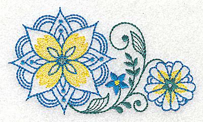 Embroidery Design: Floral design H 3.82w X 2.23h