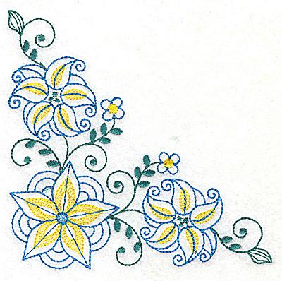 Embroidery Design: Floral corner design I large 4.95w X 4.93h